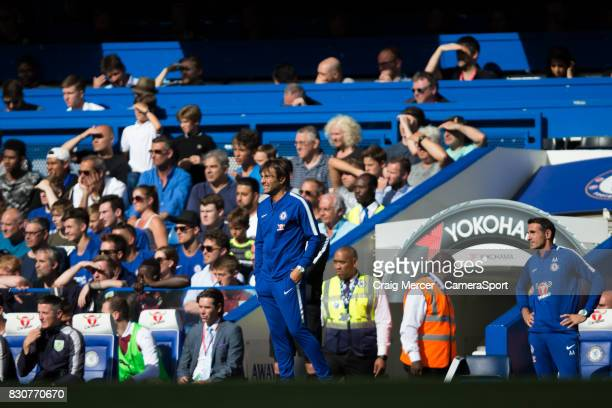 Chelsea manager Antonio Conte looks on during the Premier League match between Chelsea and Burnley at Stamford Bridge on August 12 2017 in London...