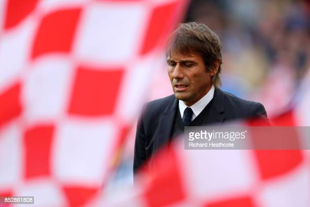 Chelsea Manager Antonio Conte looks on during the Premier League match between Stoke City and Chelsea at Bet365 Stadium on September 23 2017 in Stoke...