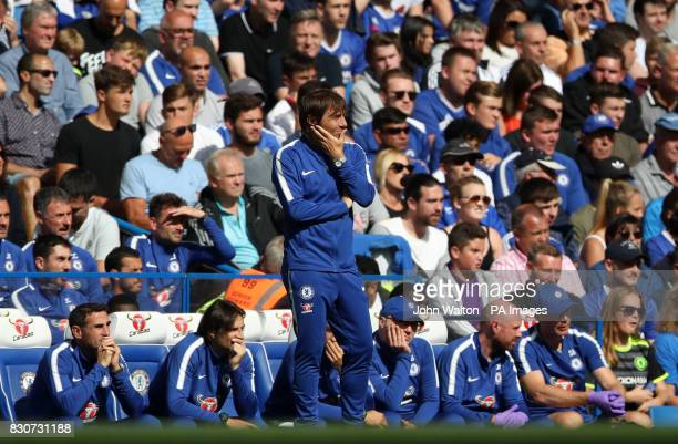 Chelsea manager Antonio Conte looks on from his technical area during the Premier League match at Stamford Bridge London
