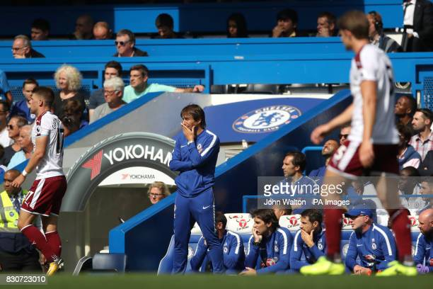 Chelsea manager Antonio Conte looks on from the touchline during the Premier League match at Stamford Bridge London