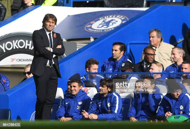 Chelsea manager Antonio Conte on the touchline during the Premier League match at Stamford Bridge London