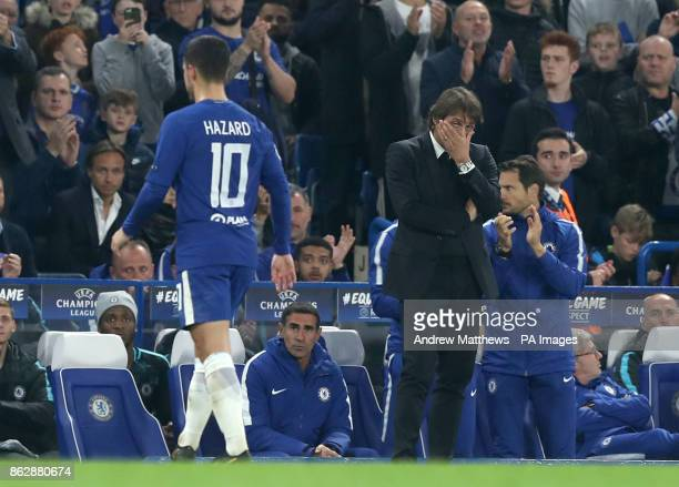 Chelsea manager Antonio Conte reacts as Chelsea's Eden Hazard is substituted during the UEFA Champions League Group C match at Stamford Bridge London