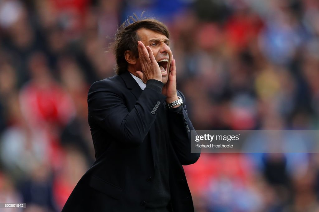 Chelsea Manager Antonio Conte reacts during the Premier League match between Stoke City and Chelsea at Bet365 Stadium on September 23, 2017 in Stoke on Trent, England.