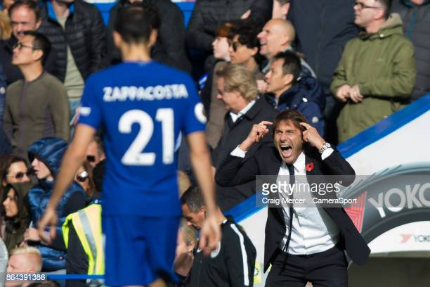 Chelsea manager Antonio Conte reacts during the Premier League match between Chelsea and Watford at Stamford Bridge on October 21 2017 in London...
