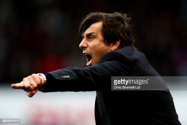 Chelsea manager Antonio Conte shouts instructions from the touchline during the Premier League match between Stoke City and Chelsea at Bet365 Stadium...
