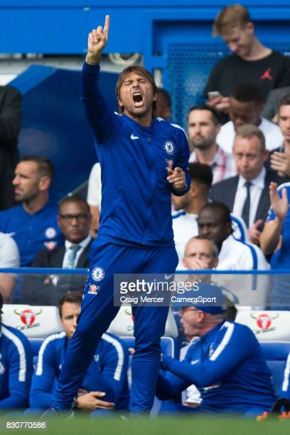 Chelsea manager Antonio Conte shouts instructions to his team from the dugout during the Premier League match between Chelsea and Burnley at Stamford...