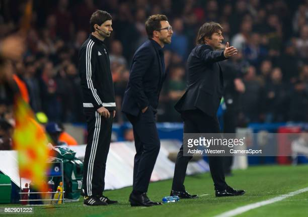 Chelsea manager Antonio Conte shouts instructions to his team from the technical area during the UEFA Champions League group C match between Chelsea...