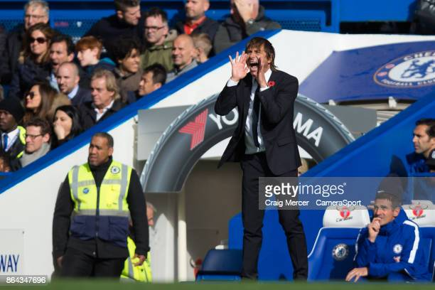 Chelsea manager Antonio Conte shouts instructions to his team from the technical area during the Premier League match between Chelsea and Watford at...
