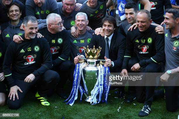 Chelsea manager Antonio Conte with Trophy during the Premier League match between Chelsea and Sunderland at Stamford Bridge London England on 21 May...