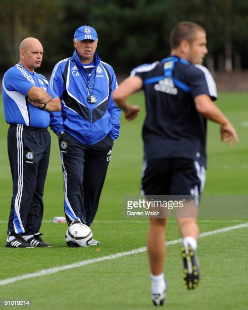 Chelsea manager Carlo Ancelotti and Assistant manager Ray Wilkins watch Joe Cole of Chelsea during a training session at the Cobham training ground...