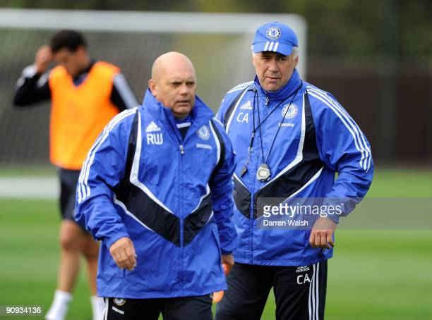 Chelsea manager Carlo Ancelotti and Assistant Ray Wilkins during training at the training ground on September 18 2009 in Cobham Surrey
