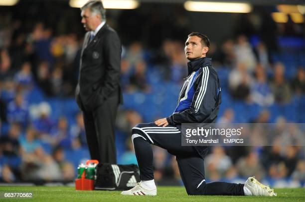 Chelsea manager Carlo Ancelotti and Frank Lampard prior to kick off