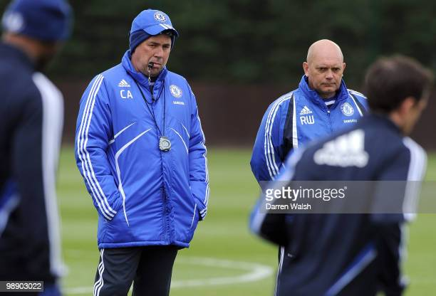 Chelsea manager Carlo Ancelotti and Ray Wilkins look on during a training session at the Cobham Training Ground on May 7 2010 in Cobham England