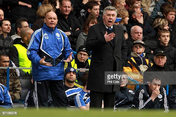 Chelsea Manager Carlo Ancelotti and Ray Wilkins shout instructions during the Barclays Premier League match between Chelsea and Manchester City at...