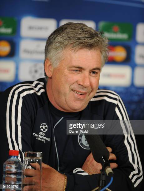 Chelsea manager Carlo Ancelotti attends a press conference ahead of their Champions League Group D match against APOEL Nicosia at Cobham Training...