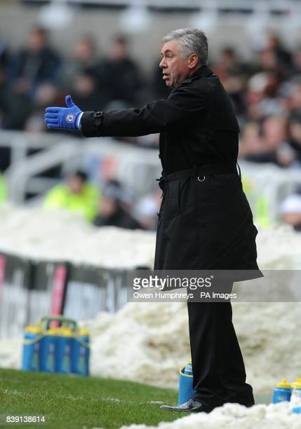 Chelsea manager Carlo Ancelotti directs his players from the touchline