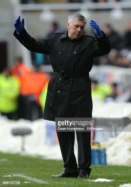Chelsea manager Carlo Ancelotti gestures on the touchline