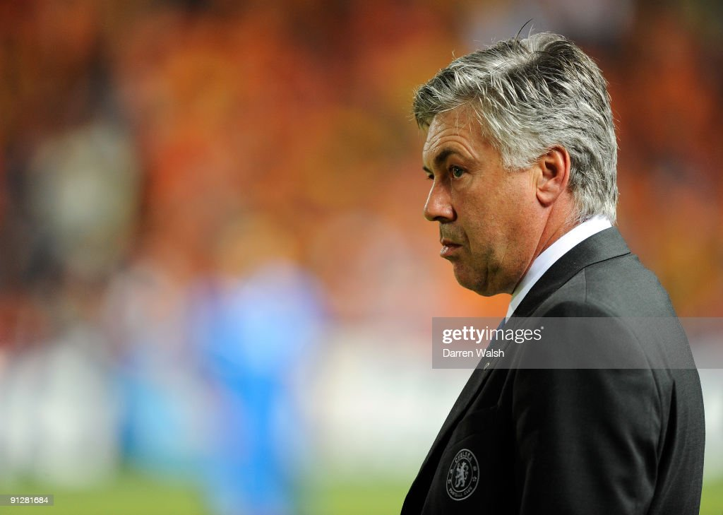 Chelsea manager Carlo Ancelotti looks on from the sidelines during the UEFA Champions League Group D match between Apoel Nicosia and Chelsea at the...