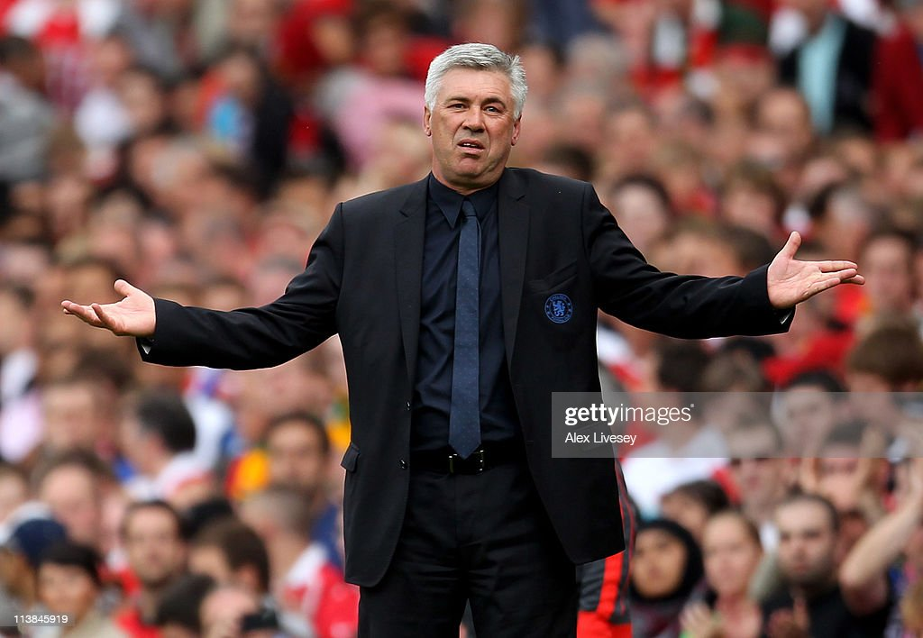 Chelsea Manager <a gi-track='captionPersonalityLinkClicked' href=/galleries/search?phrase=Carlo+Ancelotti&family=editorial&specificpeople=226747 ng-click='$event.stopPropagation()'>Carlo Ancelotti</a> reacts during the Barclays Premier League match between Manchester United and Chelsea at Old Trafford on May 8, 2011 in Manchester, England.