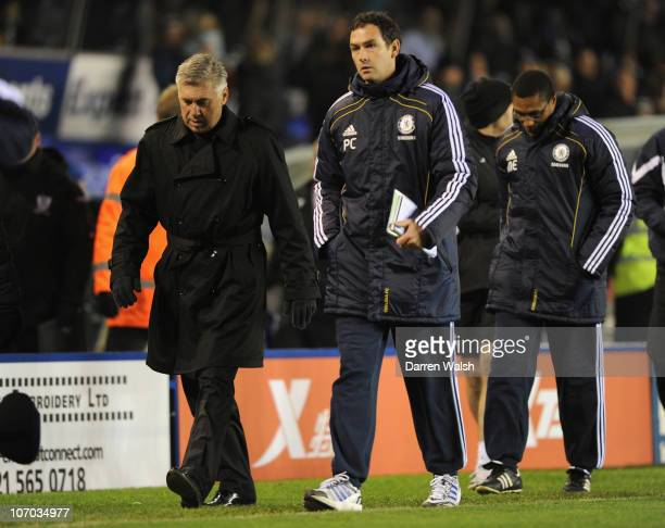 Chelsea manager Carlo Ancelotti with assistant coaches Paul Clement and Michael Emenalo after defeat in the Barclays Premier League match between...