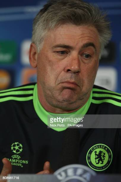 Chelsea Manager Carlos Ancelotti shrugs his shoulders during a Press Conference at Cobham Training Ground London