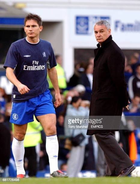 Chelsea manager Claudio Ranieri keeps a close eye on Frank Lampard during the warm up