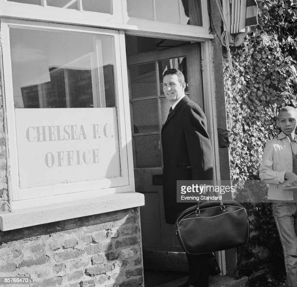 Chelsea manager Dave Sexton outside his office at the club's Stamford Bridge ground 23rd October 1967
