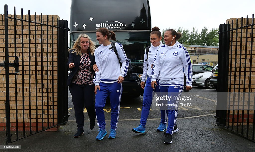 Chelsea manager Emma Hayes (L) arrives with her players at the Hetton Center before the WSL 1 League match between Sunderland Ladies and Chelsea Ladies FC at the Hetton Center on June 29, 2016 in Hetton, England.