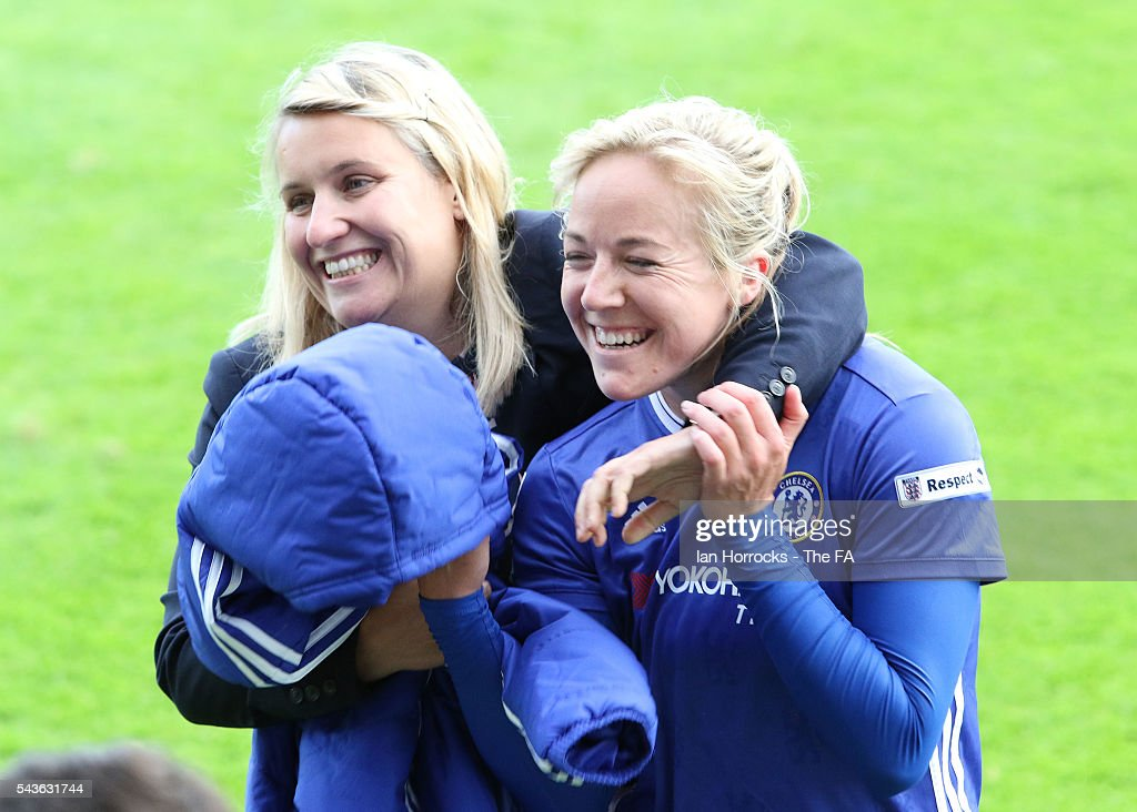 Chelsea manager Emma Hayes (L) celebrates with Gemma Davison at half time during the WSL 1 League match between Sunderland Ladies and Chelsea Ladies FC at the Hetton Center on June 29, 2016 in Hetton, England.
