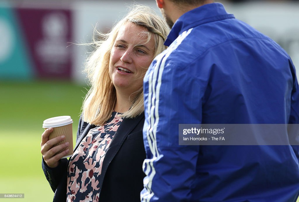 Chelsea manager Emma Hayes during the WSL 1 League match between Sunderland Ladies and Chelsea Ladies FC at the Hetton Center on June 29, 2016 in Hetton, England.