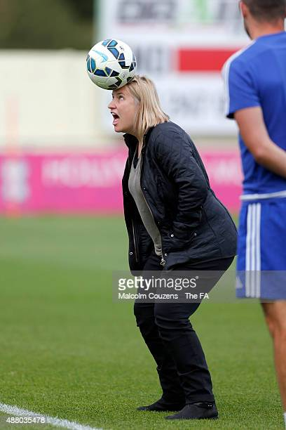 Chelsea manager Emma Hayes plays with a football during the FA WSL Continental Tyres Cup 1/4 Final between Birmingham City Ladies and Chelsea Ladies...