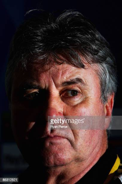 Chelsea Manager Guus Hiddink speaks to the media during a press conference at Stadio Olimpico di Torino on March 9 2009 in Turin Italy Juventus and...