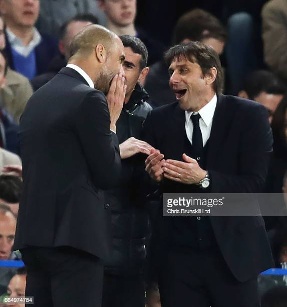 Chelsea Manager / Head Coach Antonio Conte argues with Manchester City Manager / Head Coach Pep Guardiola during the Premier League match between...