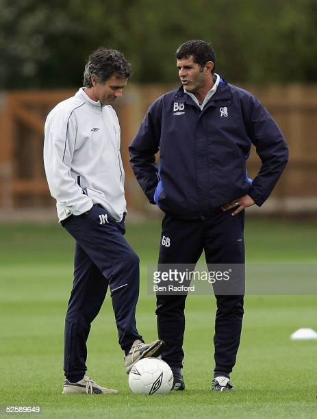 Chelsea Manager Jose Mourinho and Assistant Manager Baltemar Brito attend a training session prior to the UEFA Champion's League quarterfinal first...