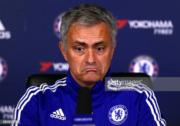 Chelsea manager Jose Mourinho chats to the media during a press conference at the Cobham training ground on October 30 2015 in Cobham England