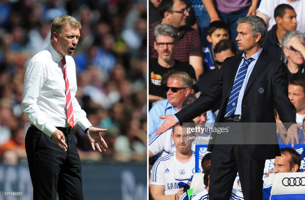 IMAGES - Image Numbers 175984906 (L) and 176743320) In this composite image a comparison has been made between <a gi-track='captionPersonalityLinkClicked' href=/galleries/search?phrase=David+Moyes&family=editorial&specificpeople=215482 ng-click='$event.stopPropagation()'>David Moyes</a>, Manager of Manchester United (L) and Jose Mourinho, Manager of Chelsea. Premiership title favorites Manchester United and Chelsea meet at Old Trafford, Manchester on August 26, 2013. LONDON, ENGLAND - AUGUST 18: Chelsea manager Jose Mourinho gestures during the Barclays Premier League match between Chelsea and Hull City at Stamford Bridge on August 18, 2013 in London, England.