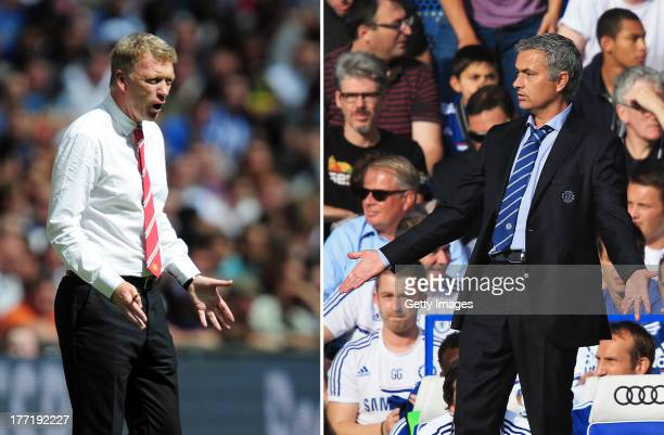 COMPOSITE OF TWO IMAGES Image Numbers 175984906 and 176743320 In this composite image a comparison has been made between David Moyes Manager of...