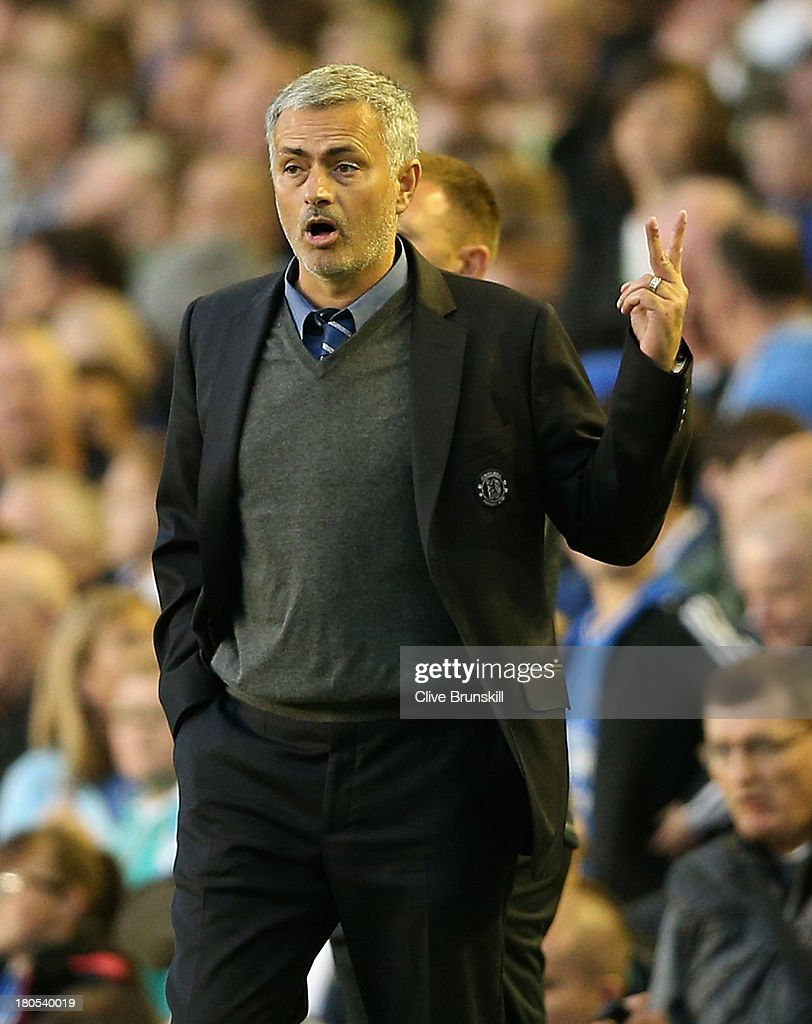 Chelsea Manager Jose Mourinho gestures during the Barclays Premier League match between Everton and Chelsea at Goodison Park on September 14, 2013 in Liverpool, England.