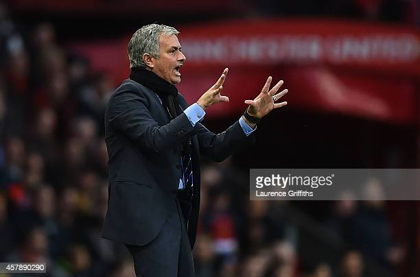 Chelsea Manager Jose Mourinho gestures during the Barclays Premier League match between Manchester United and Chelsea at Old Trafford on October 26...
