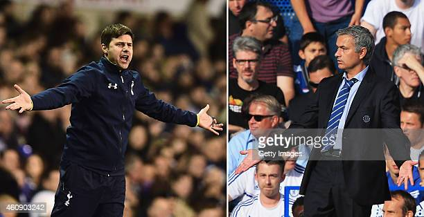 COMPOSITE OF TWO IMAGES Image numbers 460602934 and 176743320 In this composite image a comparision has been made between Mauricio Pochettino Manager...