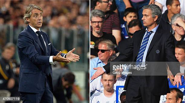 IMAGES Image Numbers 182933606 and 176743320 In this composite image a comparison has been made between Galatasaray AS coach Roberto Mancini and...