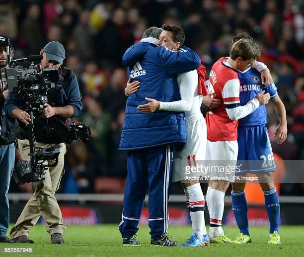 Chelsea manager Jose Mourinho greets Arsenal's Mesut Ozil after the final whistle