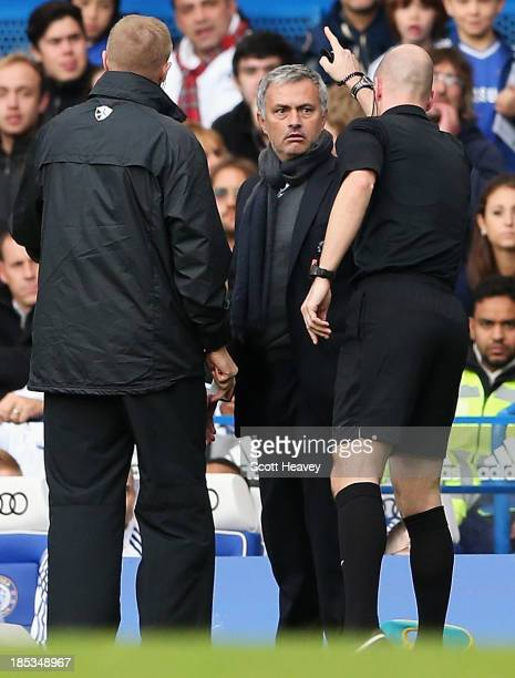 Chelsea manager Jose Mourinho is sent off by referee Anthony Taylor during the Barclays Premier League match between Chelsea and Cardiff City at...