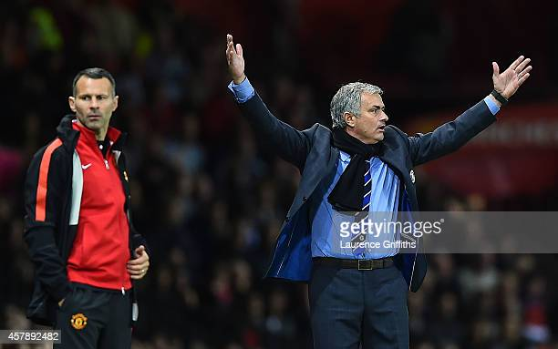 Chelsea Manager Jose Mourinho protests during the Barclays Premier League match between Manchester United and Chelsea at Old Trafford on October 26...