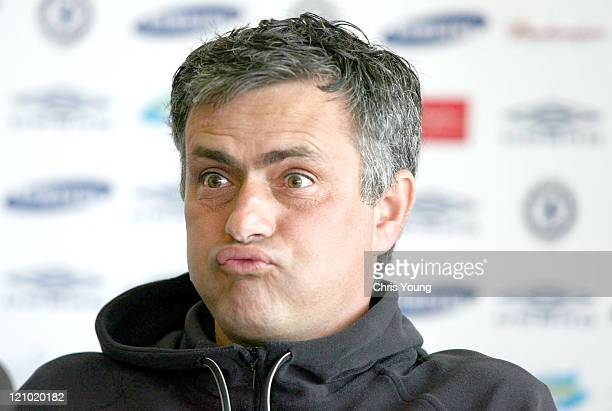 Chelsea Manager Jose Mourinho reacts to the thought of being in Arsenal's league position Friday 7th April 2006 during a press conference at the...