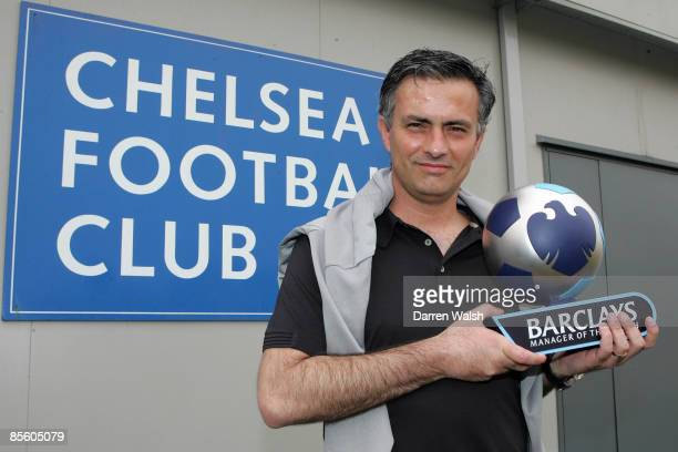 Chelsea manager Jose Mourinho receives the Barclays Manager of the Month award for March