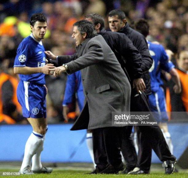 Chelsea manager Jose Mourinho shouts instructions to his player Mateja Kezman