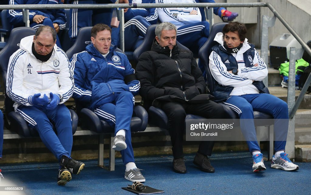 Chelsea manager Jose Mourinho shows his emotions along with his coaching staff on the bench during the FA Cup Fifth Round match sponsored by Budweiser between Manchester City and Chelsea at Etihad Stadium on February 15, 2014 in Manchester, England.