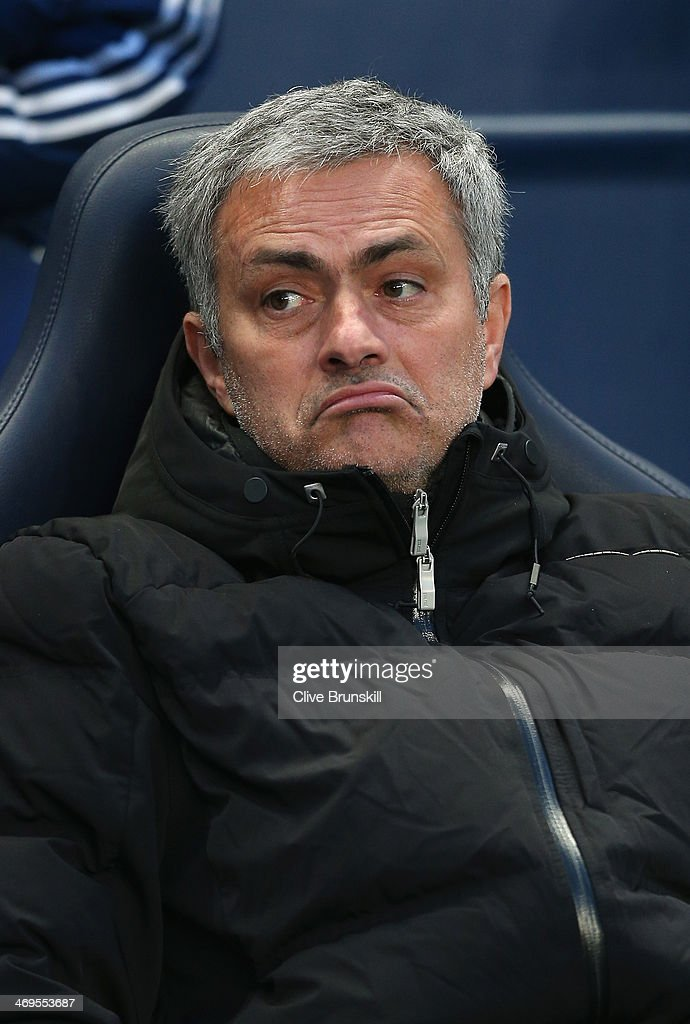 Chelsea manager Jose Mourinho shows his emotions during the FA Cup Fifth Round match sponsored by Budweiser between Manchester City and Chelsea at Etihad Stadium on February 15, 2014 in Manchester, England.