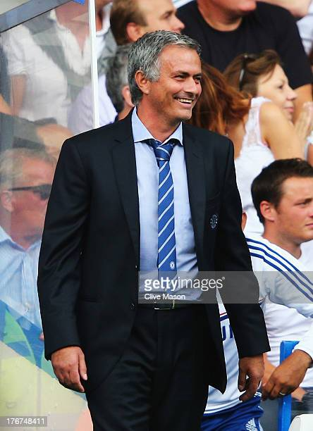 Chelsea manager Jose Mourinho smiles during the Barclays Premier League match between Chelsea and Hull City at Stamford Bridge on August 18 2013 in...